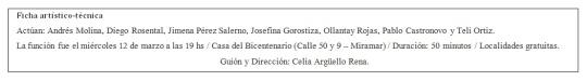 Ficha artístico-técnica V.Argüello